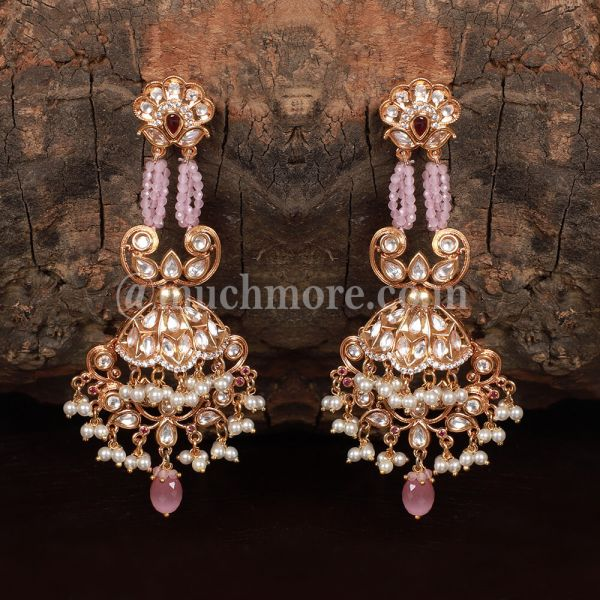Pink Gold Tone Kundan Inspired Quartz Earrings