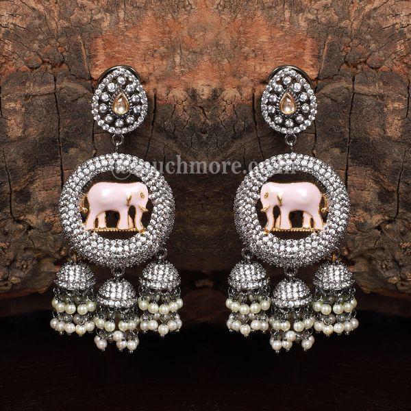 Traditional Elephant Figure Earrings In Black Polish