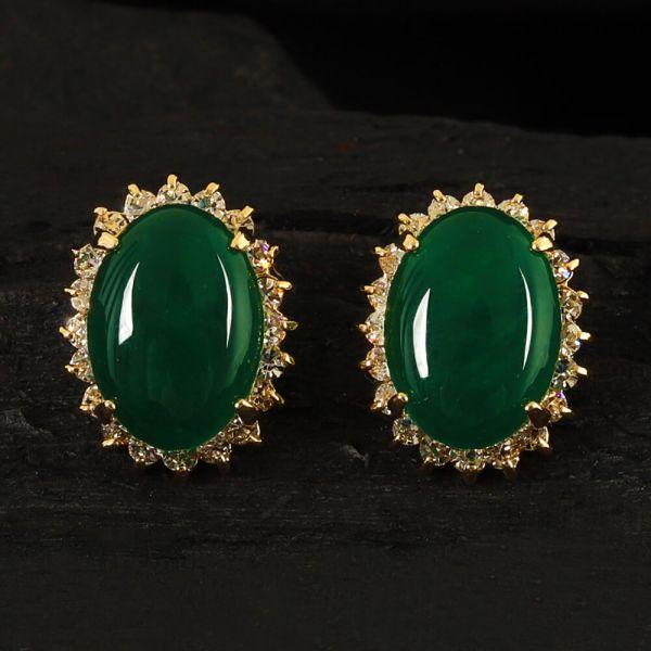 Emerald Green Oval Earrings