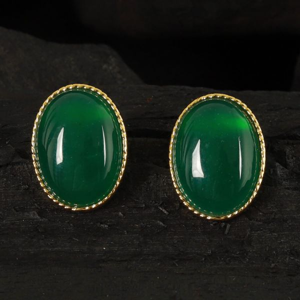 Green Oval Natural Emerald Studs Earrings