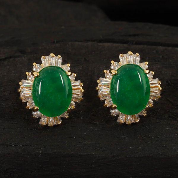 Buy Green Emerald Oval Costume Earrings