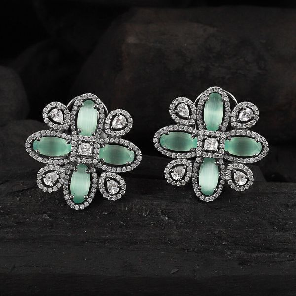 Silver Polish Antique Look Green Earring
