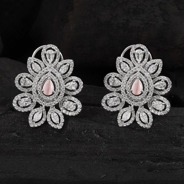Silver Polish Pink AD Earrings