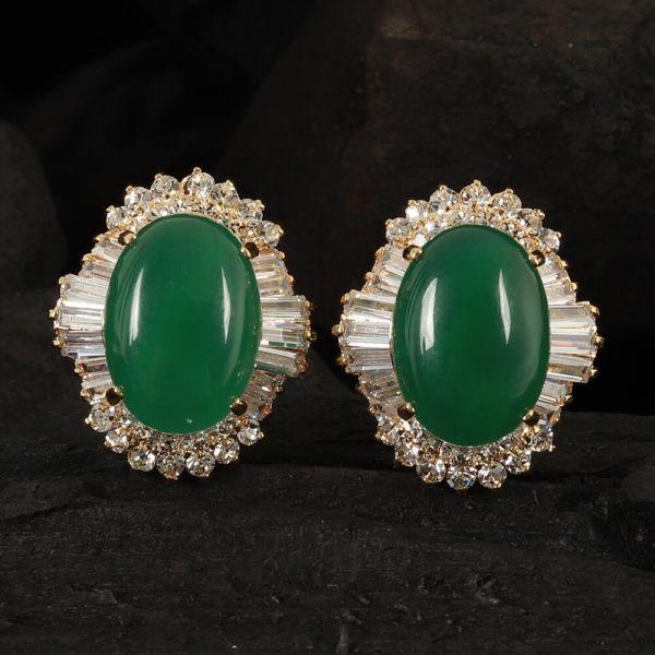 Gold Polish Green Stud Earrings