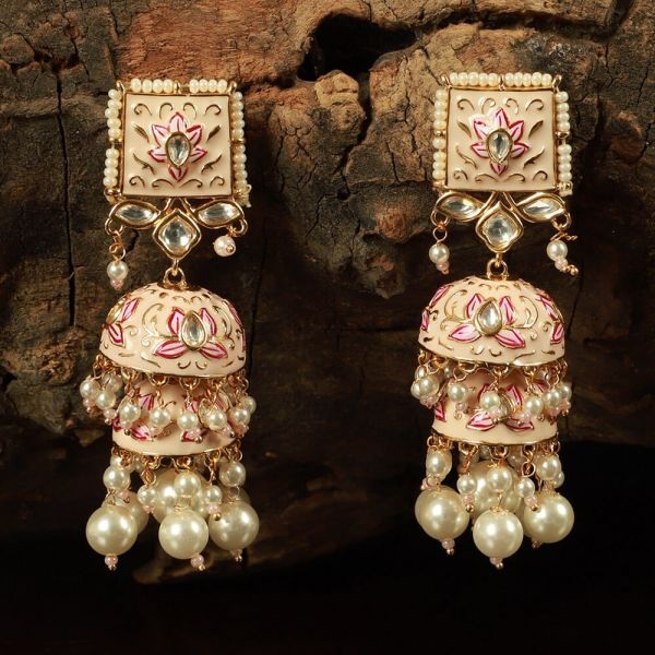 Cream Gold Tone Earrings Long Jhumka With Pearls