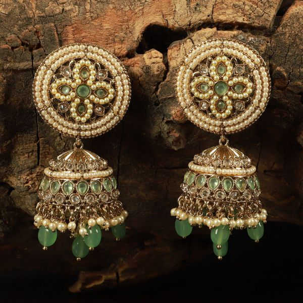 Gold Tone Light Green Beaded Jhumka Earrings