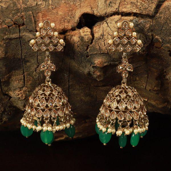 Antique Pearl Green Drop Jhumka Set