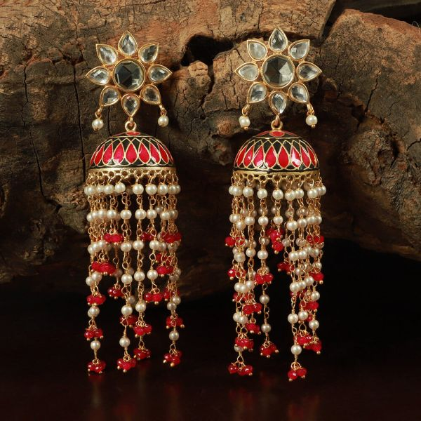Gold Jhumka Designs With Pearl And Meena