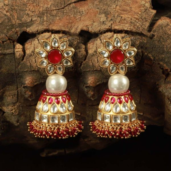 Ruby Gold Tone Kundan Earrings With Pearl