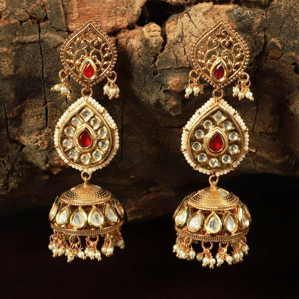 Designer Long Kundan Ruby Jhumka Earrings