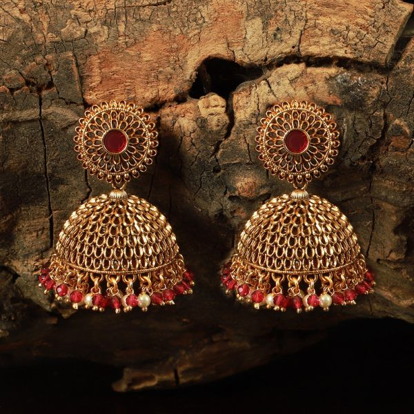 Gold Tone Ruby Studded Small Jhumka Earring