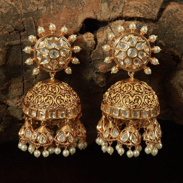 Gold Tone Handcrafted Earring Jhumka With Pearls