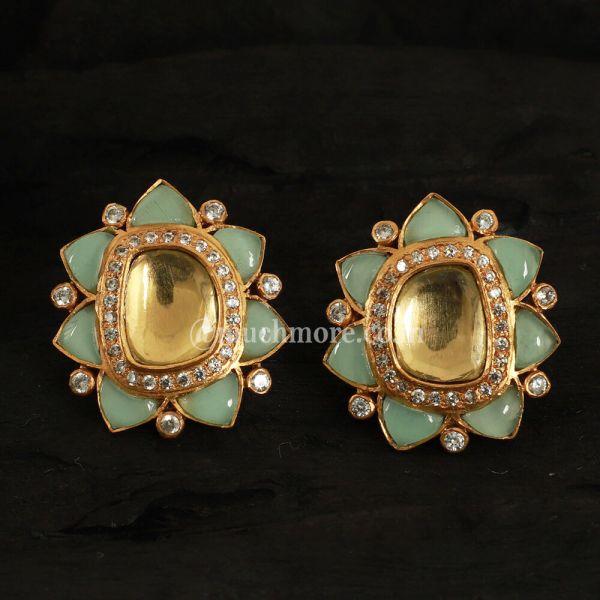 Gold Tone Kundan Stud Earrings With Zircon