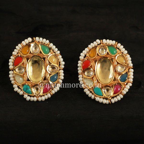 Navratna Gold Oval Shape Earrings