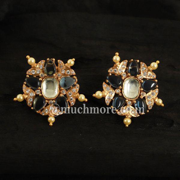 Gold Tone Kundan Inspired Handcrafted Stud Earrings