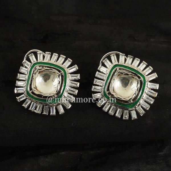 Silver Plated Vellore Polki Green Earrings
