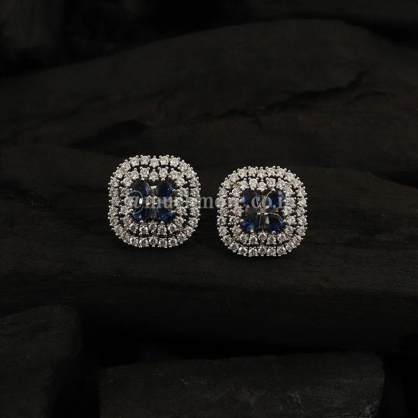 Square Earrings Sapphire White Gold Earrings