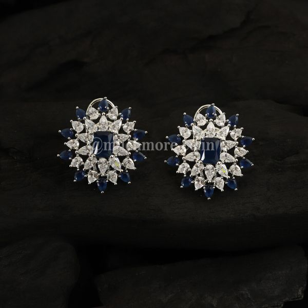 Blue Sapphire Diamond Earrings By Much More