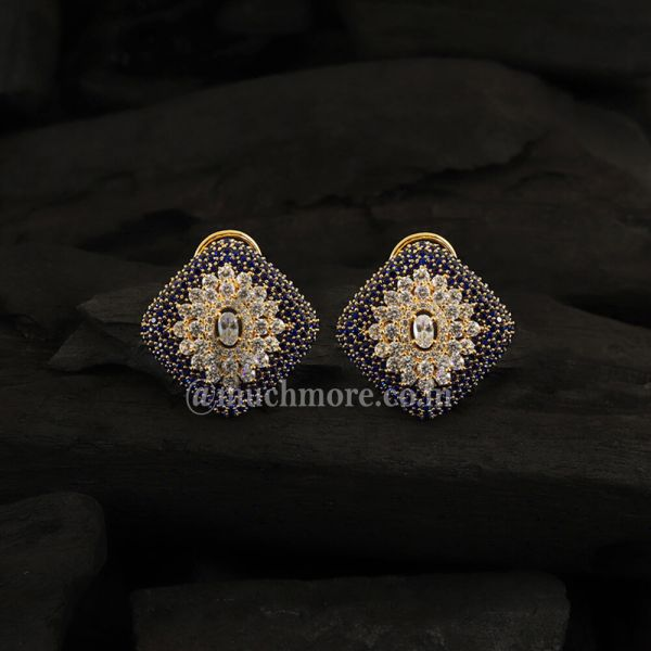 AD Earrings In Sapphire Stone With Two Tone Plating