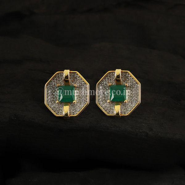 Green Geometric Shape AD Earrings