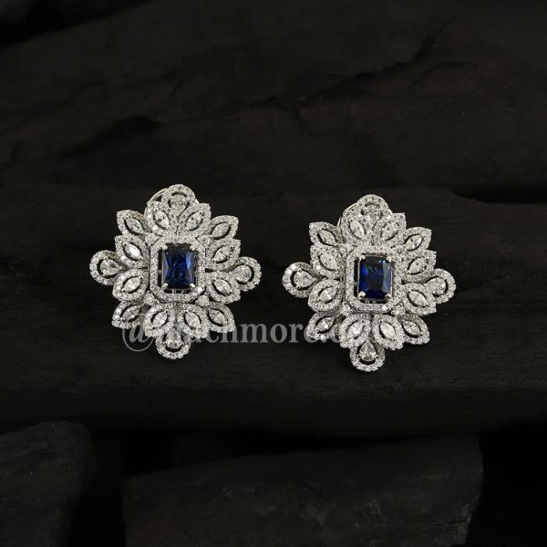 Silver-Plated & Blue Diamond Studded Classic Studs