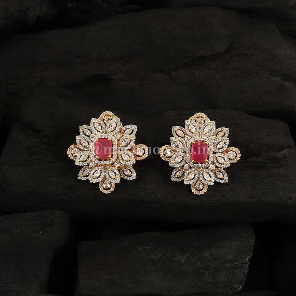 Red Ruby & Gold-Plated Square Studs