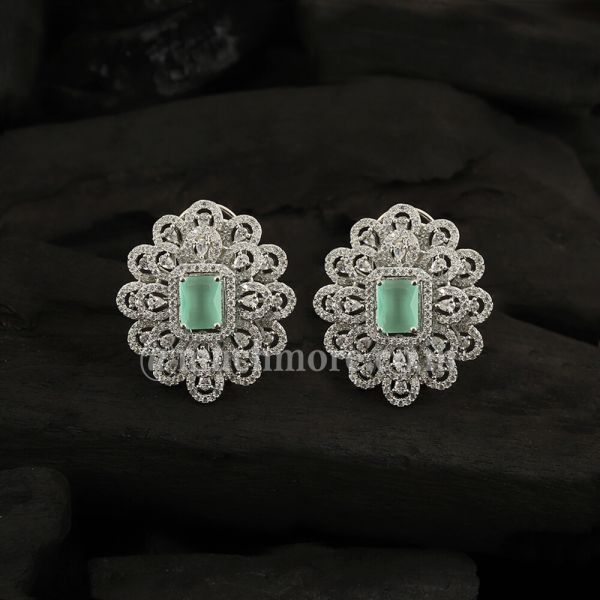 Silver-Toned & Mint Green Rhodium-Plated Studs