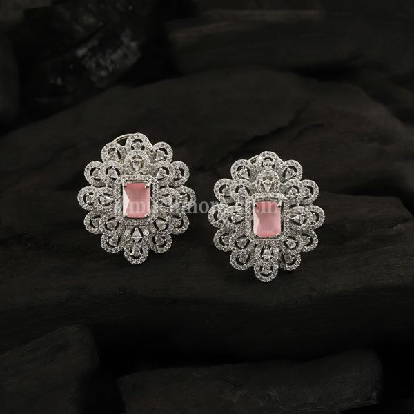 Silver-Toned & Baby Pink Rhodium-Plated Studs