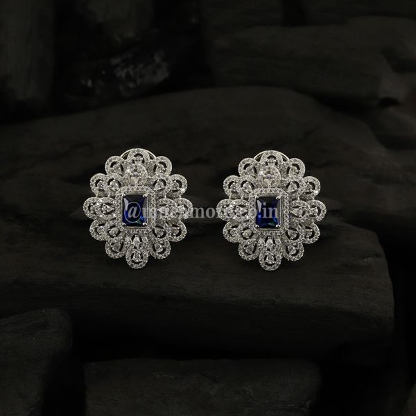 Silver-Toned & Navy Blue Rhodium-Plated Studs