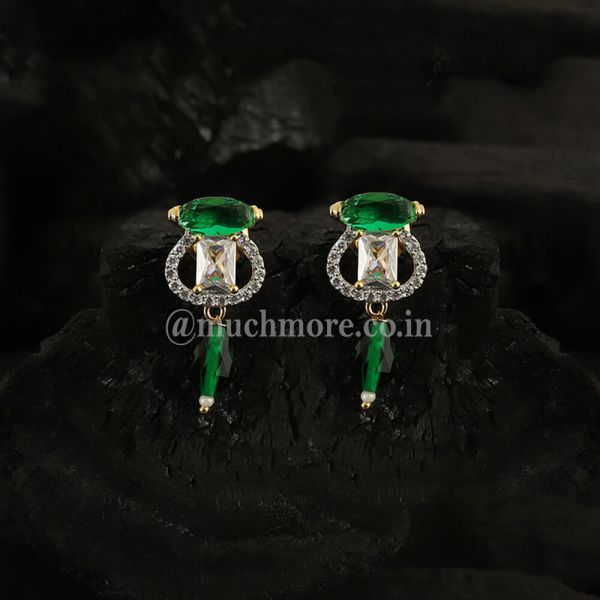Gold Plated & Green Drop AD Earrings