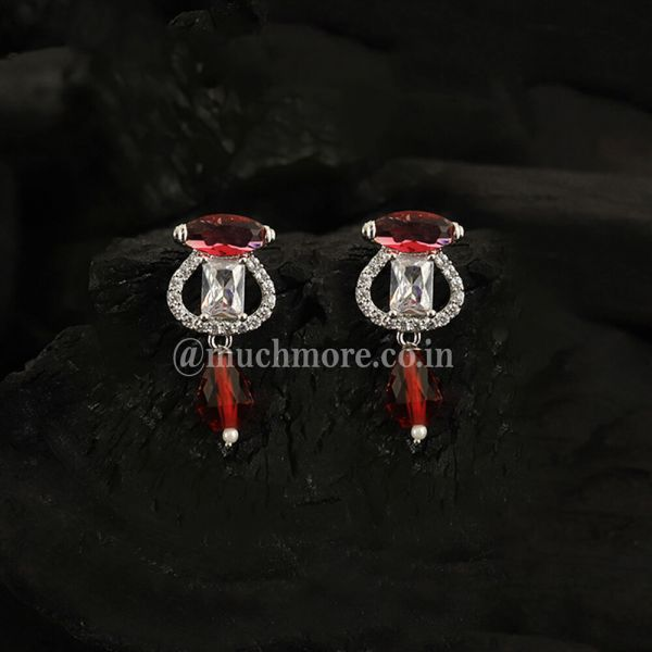 Silver With Ruby Red Drop AD Earrings