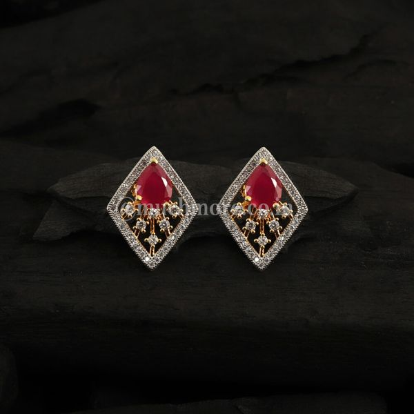 Red Gold-Plated Contemporary Studs