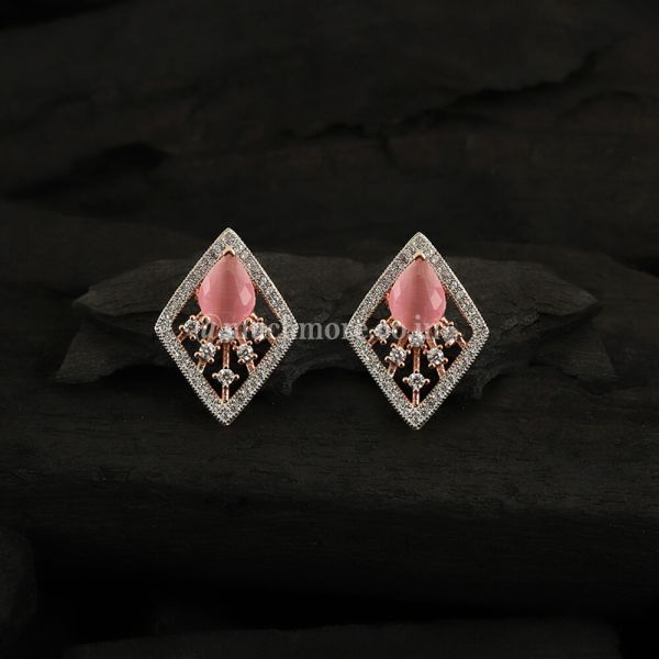 Rose Gold-Plated Contemporary Studs