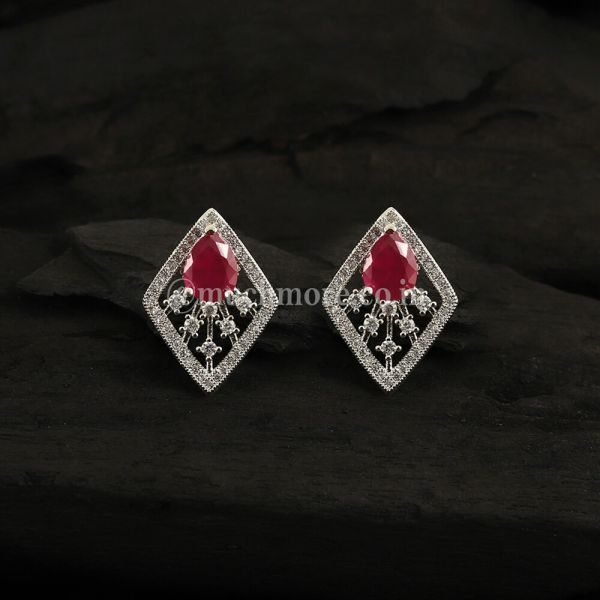 Ruby White Plated Contemporary Studs