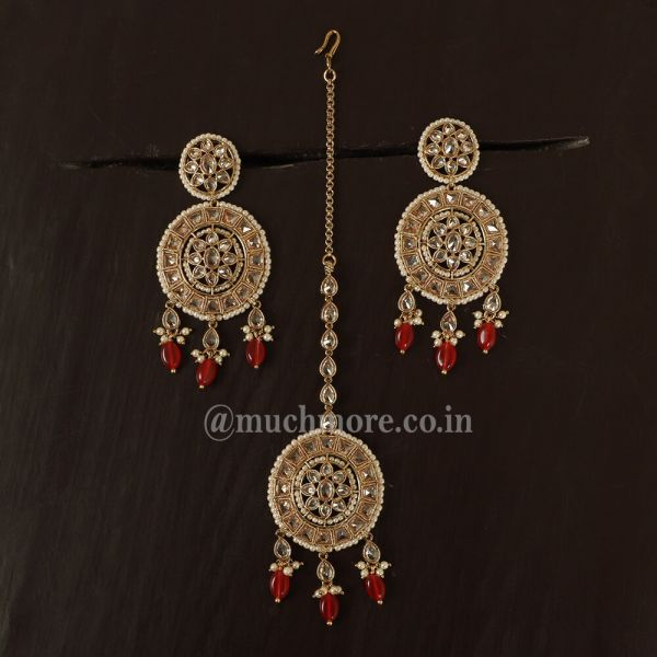 Ruby Stone Latest Gold Earrings With Maang Tikka