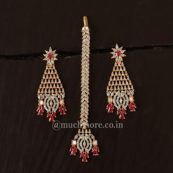 Gold Polish Ruby Studded Earring With Tikka
