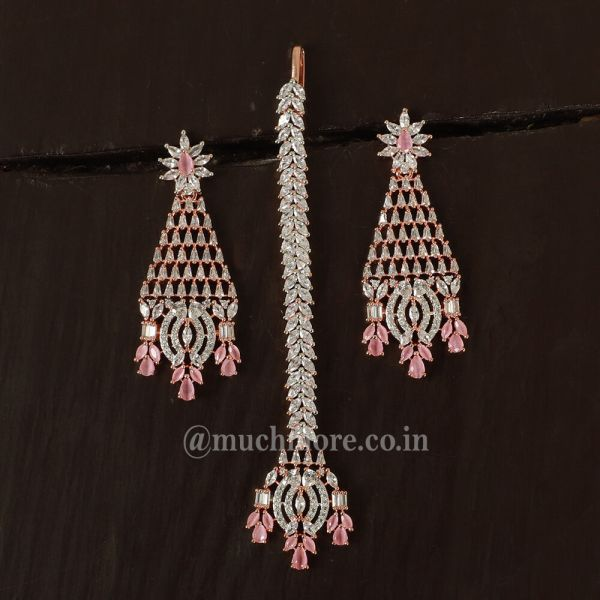 American Diamond Engraved Adorable Earring with Maang Tikka