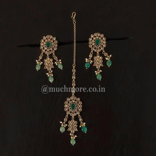 Green Color Gold Finish Earring Tikka Pair