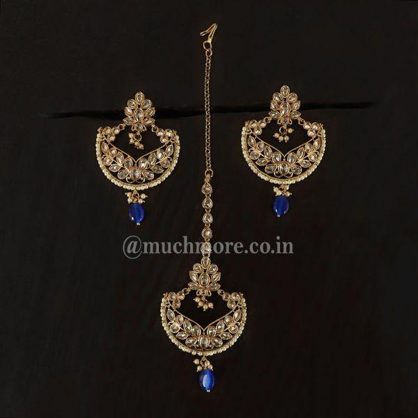 Antique Gold Tone Ethnic Blue Earring & Maang Tikka Set