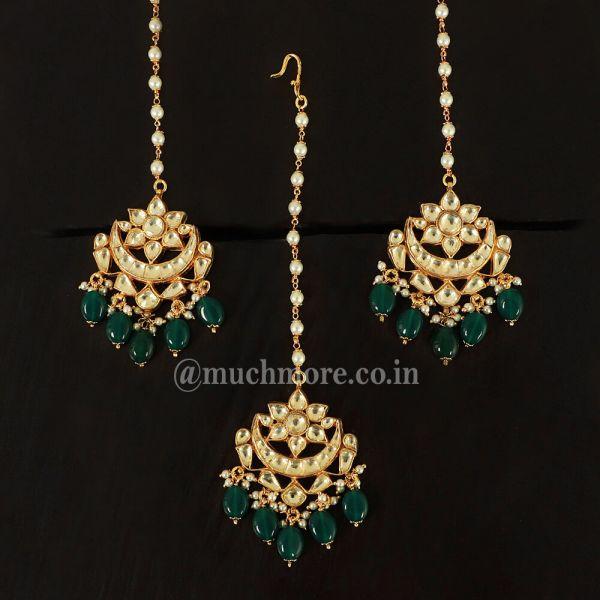 Designer Green And Kundan Earrings Maang Tikka Pair