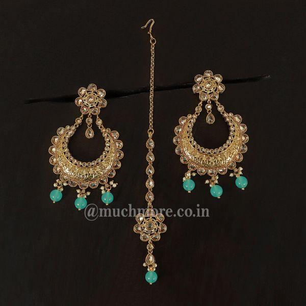 Blue Chandbali Style Earring Tikka For Girls
