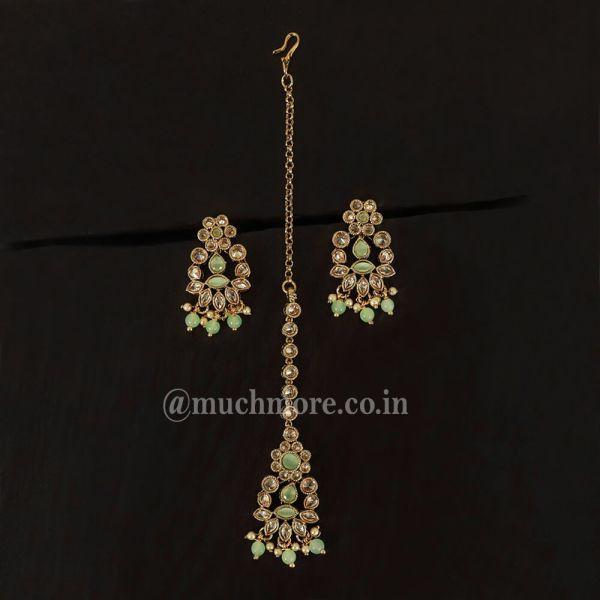 Designer Small Mint Green Earring Set With Tikka