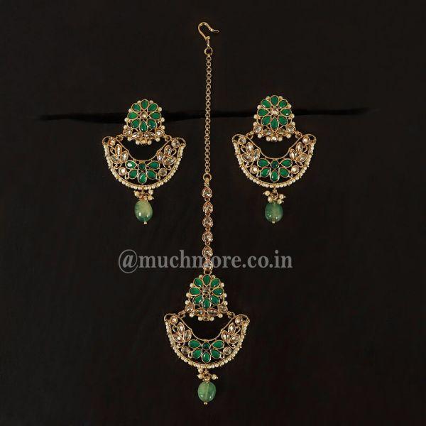 Green Antique Finish Chandbali Earrings Tikka