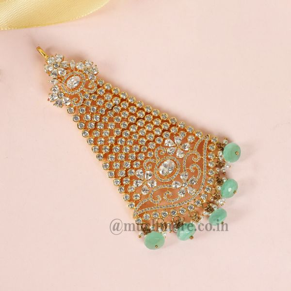 Designer Gold Polished Diamond Passa With Mint Dropping