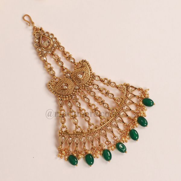 Antique Gold Plated Beautiful Polki Stone Traditional Side Tikka