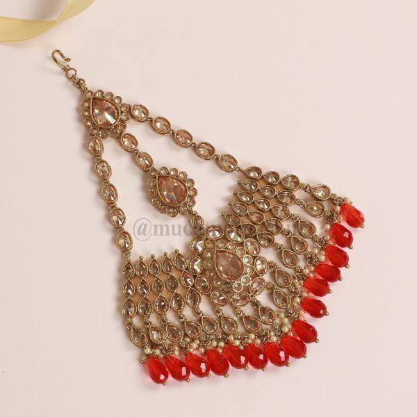 Big Ruby Droppings  Passa Jhumar Hair Ornament