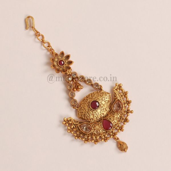 Gold Look Ruby Side Jhumar Passa