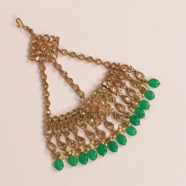 Emerald Stone Jhoomer Passa Statement For Indian Wedding