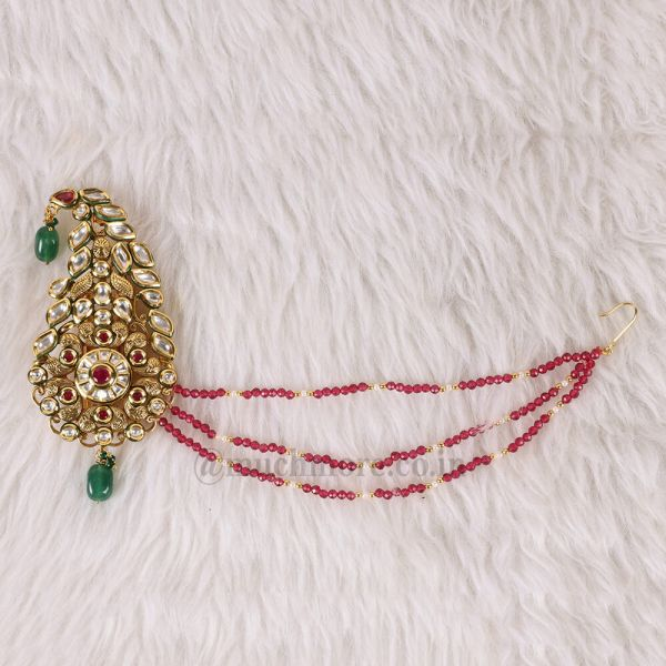 Ruby Green Kundan Groom Kalgi With Beads