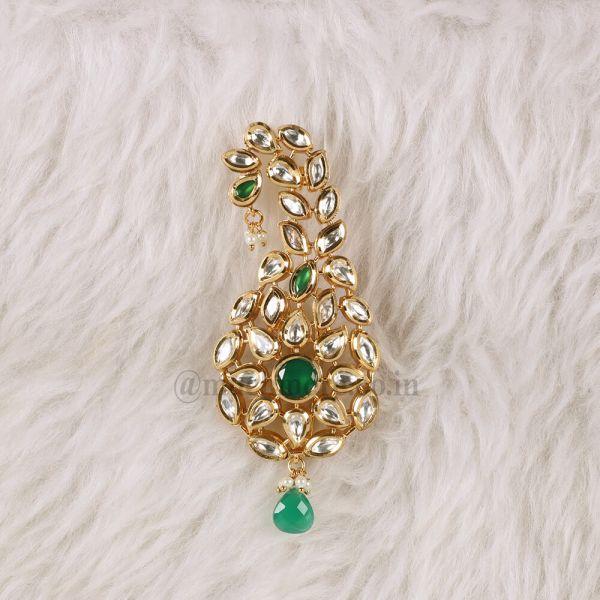 Green Kundan Indian Groom's Head Jewelry